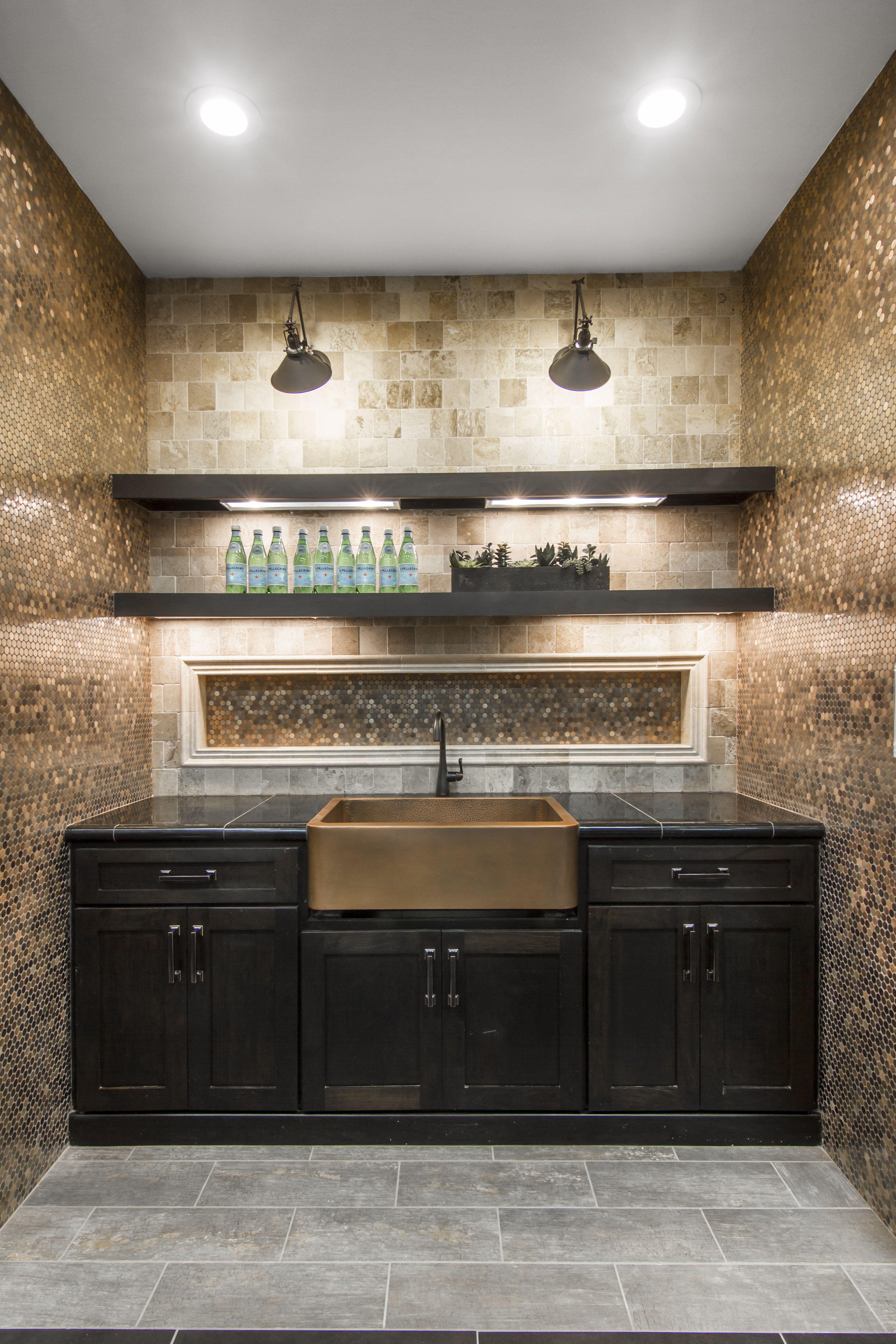 Copper Penny Round Mosaic Tile Backsplash And A Copper Farm Sink
