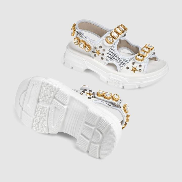 Gucci Leather And Mesh Sandal With Crystals Womens Sandals Women Shoes Sale Gucci Leather