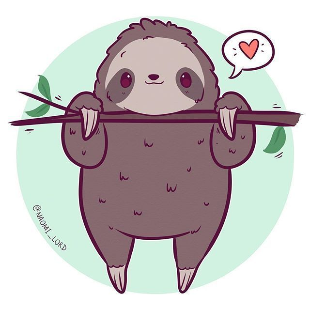 Doodled up a little sloth :3 they're basically my ... -
