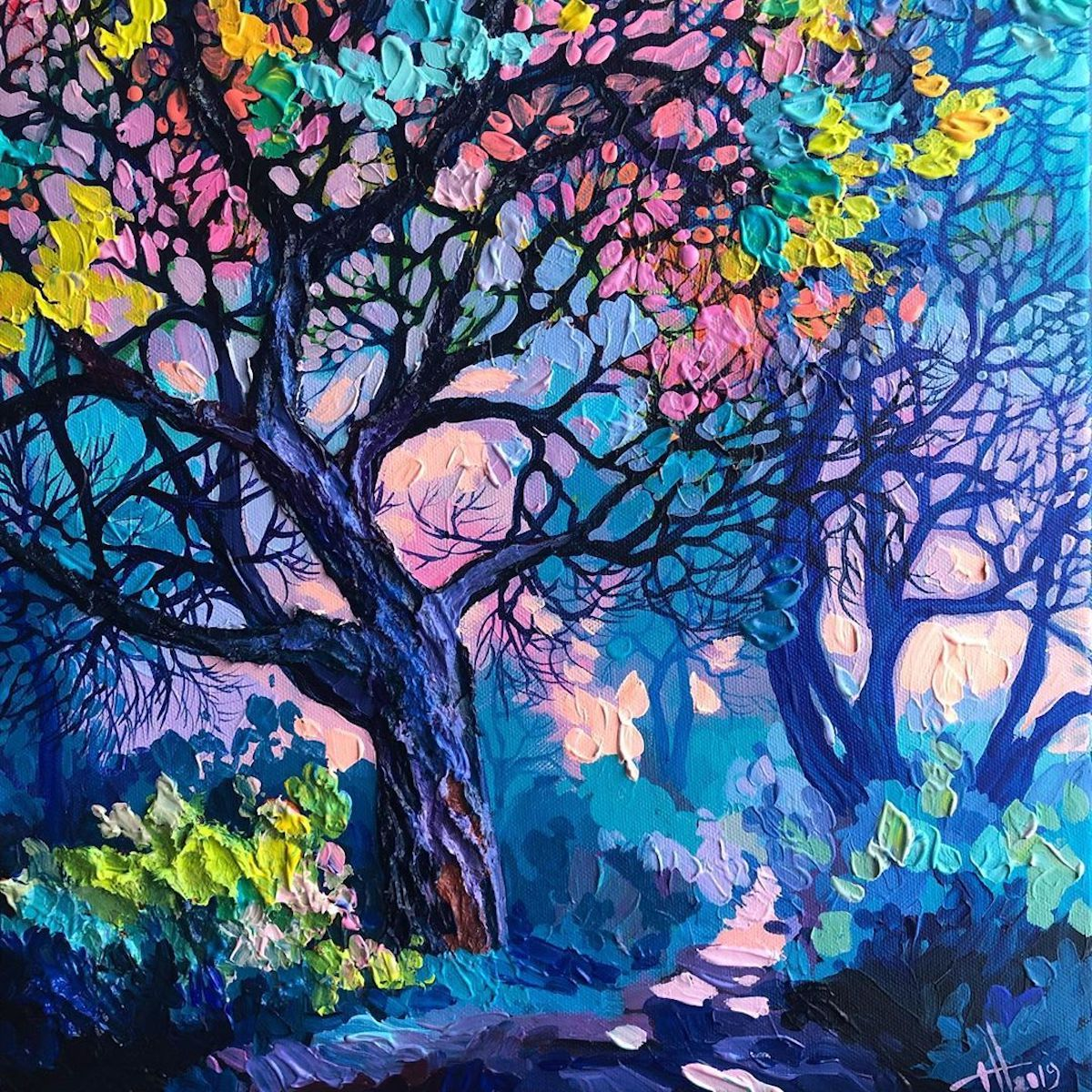 Brilliant Textured Paintings Capture European Countrysides In Kaleidoscopic Colors In 2020 Painting Ladscape Painting Colorful Oil Painting