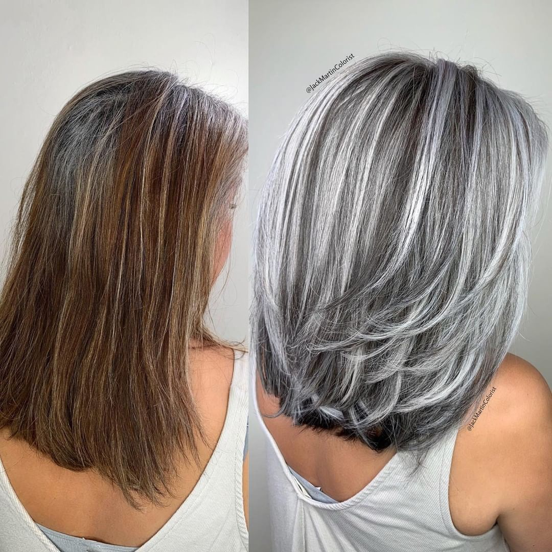 """Kenra Professional on Instagram: """"BLENDING & MATCHING GRAY ROOTS 💯Gray, silver, ashy color transformation by @jackmartincolorist using #KenraColor 5NUA Perm + 10Vol to…"""""""