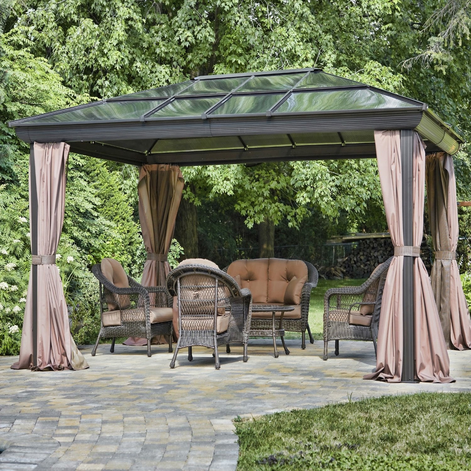 view chic exterior curtain beautiful fireplaces surrounding popular of a with awesome shade design ideas decor the and curtains outdoor garden pergola