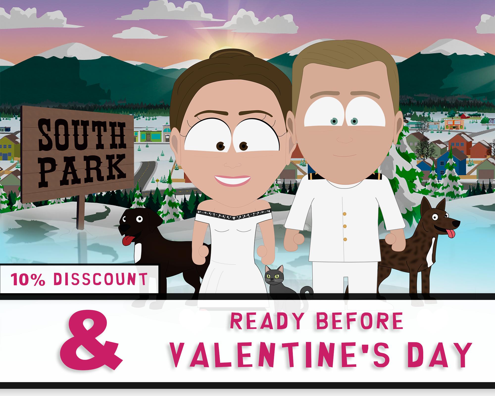 Custom South Park Portrait Etsy Valentines Day Drawing South Park Custom Portraits