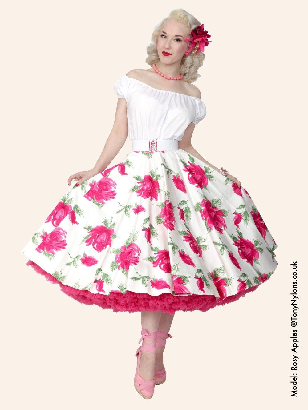1950s Victory rose cerise circle skirt http://www.vivienofholloway.com/  #Vivienofholloway Vivienofhollowaywedding #VivienHolloway #VoH #Vintagereproduction #madeinlondon #1950sstyle #1950sfashion #1950s #1950sglamour #pinupgirl #pinup #rockabilly #rockabillygirl #rockabillyclothing #pinupfashion #1950scircleskirt #floralskirt