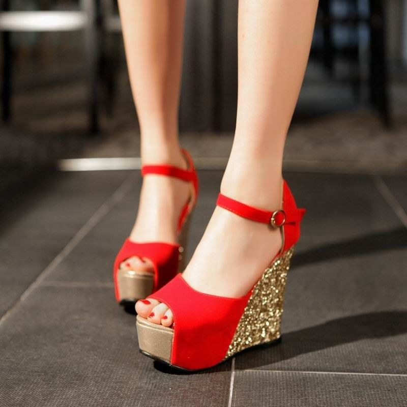 Price Tracker And History Of Summer New Arrival 2017 Women Wedges Sandals High Heels Open Toe Shoe Scrub Paillette Red Wedding Shoes Bridal Female