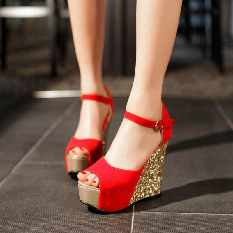 Summer new arrival 2017 women wedges sandals high heels open toe shoe scrub  paillette red wedding