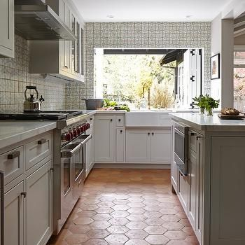 Kitchen With Terracotta Hex Tile Floor Cottage Kitchen Trendy