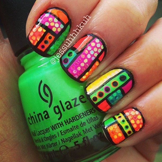 Neon Tribal Nail Art Design With Hand Placed Glitter