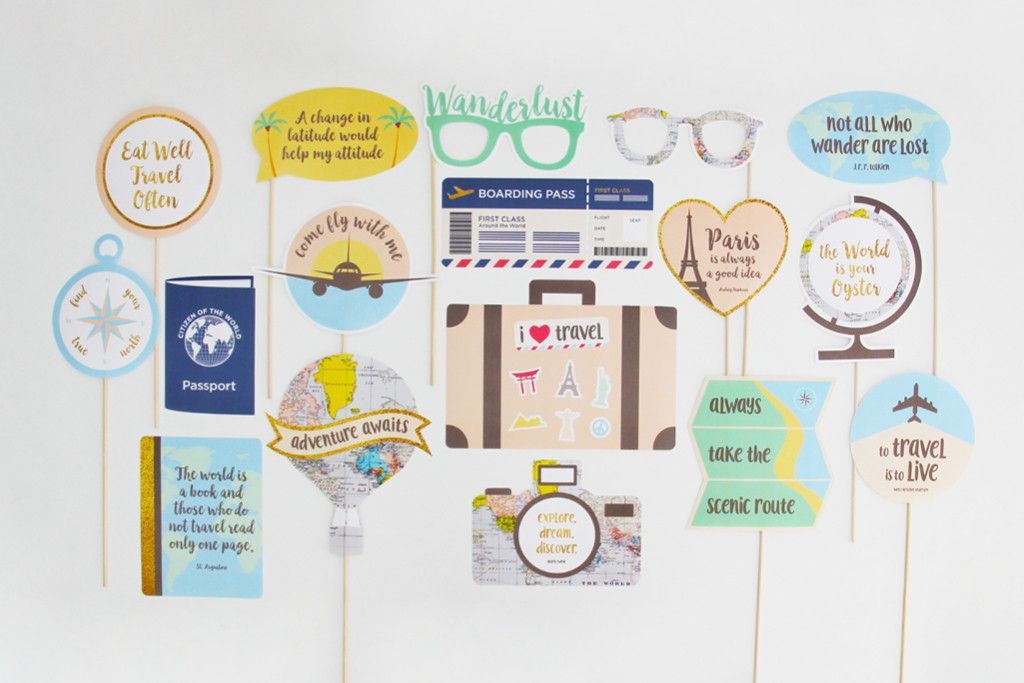 Travel Party Photo Booth Props Printable Instant Download 85th