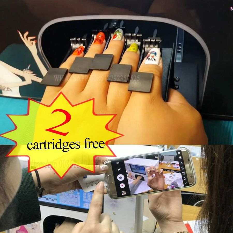 2 Cartridges Free Nail Printer Professional Diy Nail Art 10 Inches