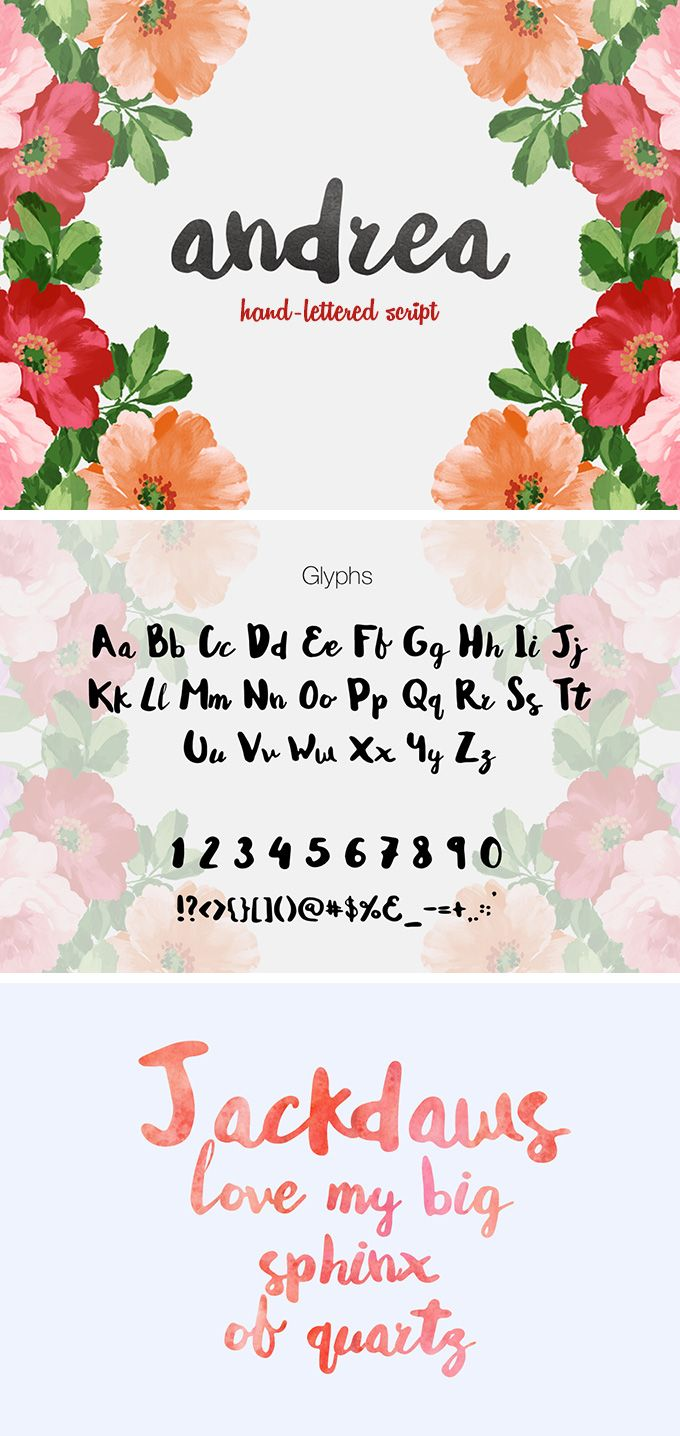 andrea script | かわいいペン、タイポグラフィ、ペン