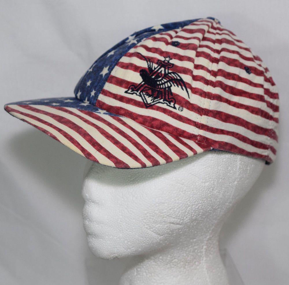 Vintage Hat Anheuser Busch Beer Snapback Cap Adjustable Patriotic Usa Us Flag Budweiser Baseballcap Patriotic Hats Hats American Flag Hat