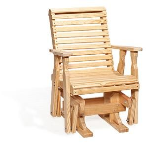 Amish Pine Wood Roll Back Single Patio Outdoor Glider Chair
