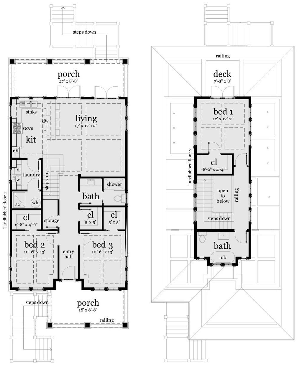 Beach style house plan 3 beds 2 baths 1581 sqft plan 64
