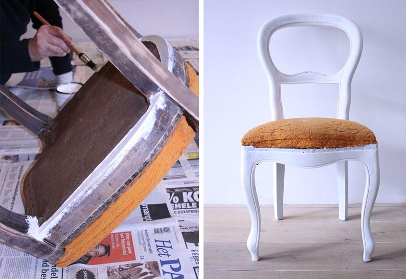 Diy stoeltje in grondverf stoel bekleden stoelen