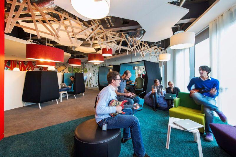 google office environment. Fun Modern Office: Google European Headquarter In Dublin: Breathtaking Relaxing Spot Design Office With White Colored Soft Sofa An\u2026 Environment I