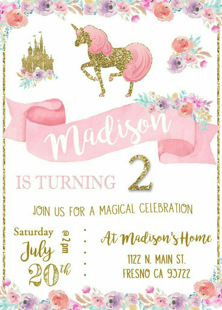 Birthday Party Invitations Unicorn Themed Princess