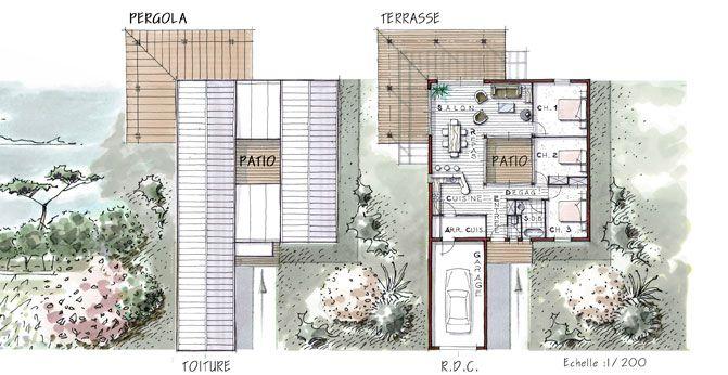 maison 96 m avec patio terrasse et 3 chambres plan maison pinterest patios chambres et. Black Bedroom Furniture Sets. Home Design Ideas