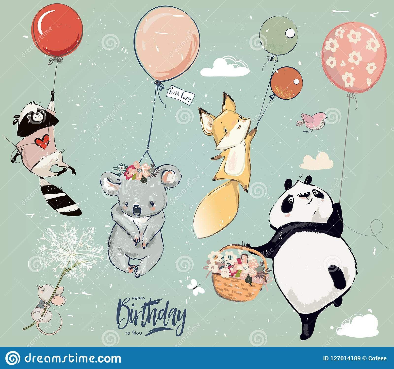 Sobranie S Milymi Zhivotnymi Muhy Dnya Rozhdeniya S Vozdushnymi Sharami Illyustraciya Vektora Illyustracii Naschity Birthday Illustration Cute Drawings Balloon Animals