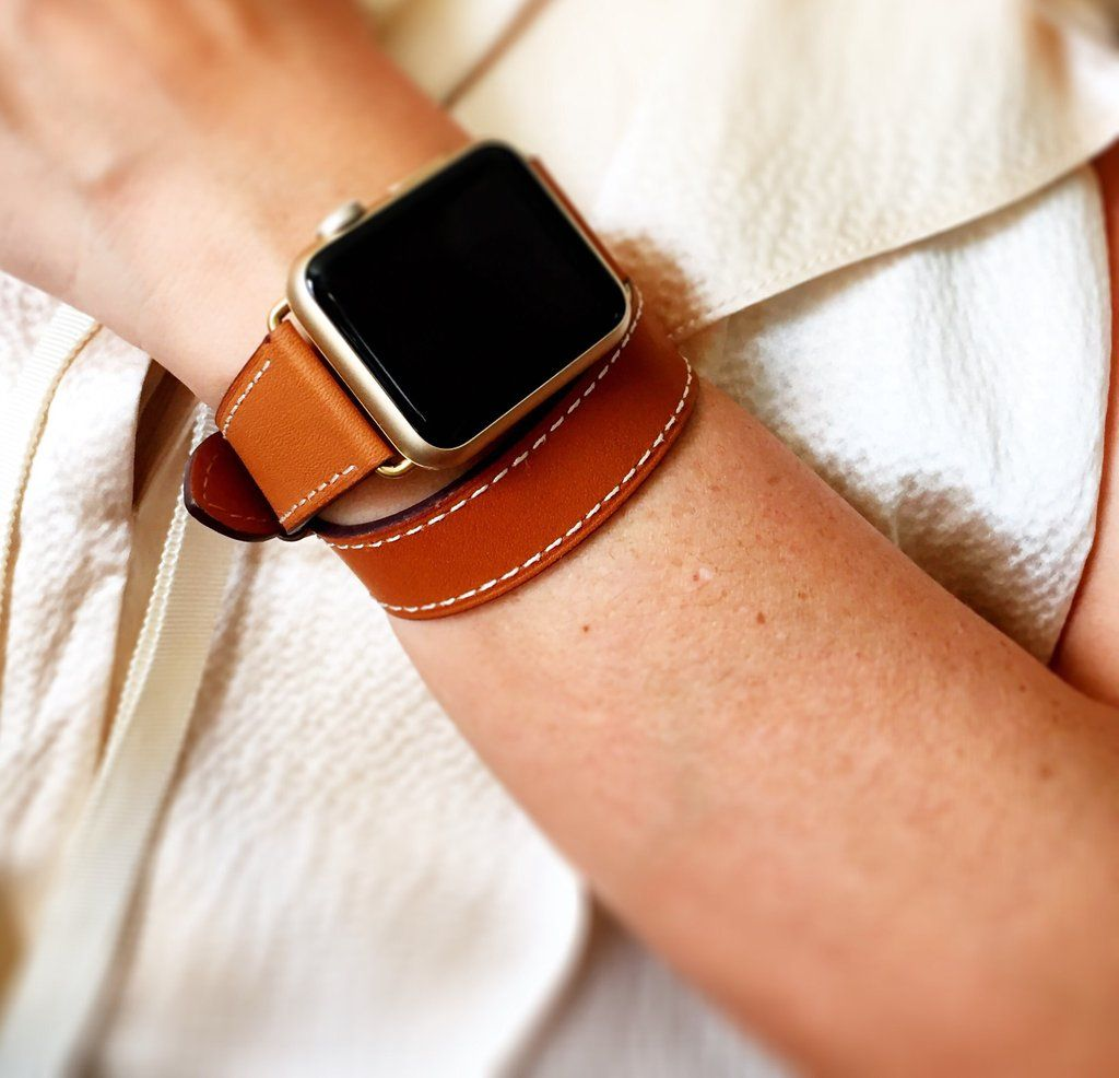 1caf15bac Brown hand-stitched Apple watch leather double tour band with OPTION for  silver, gold, rose gold, space gray or black hardware.