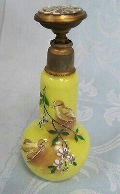 *Victorian enamelled yellow glass perfume bottle with beaded enamel stopper.