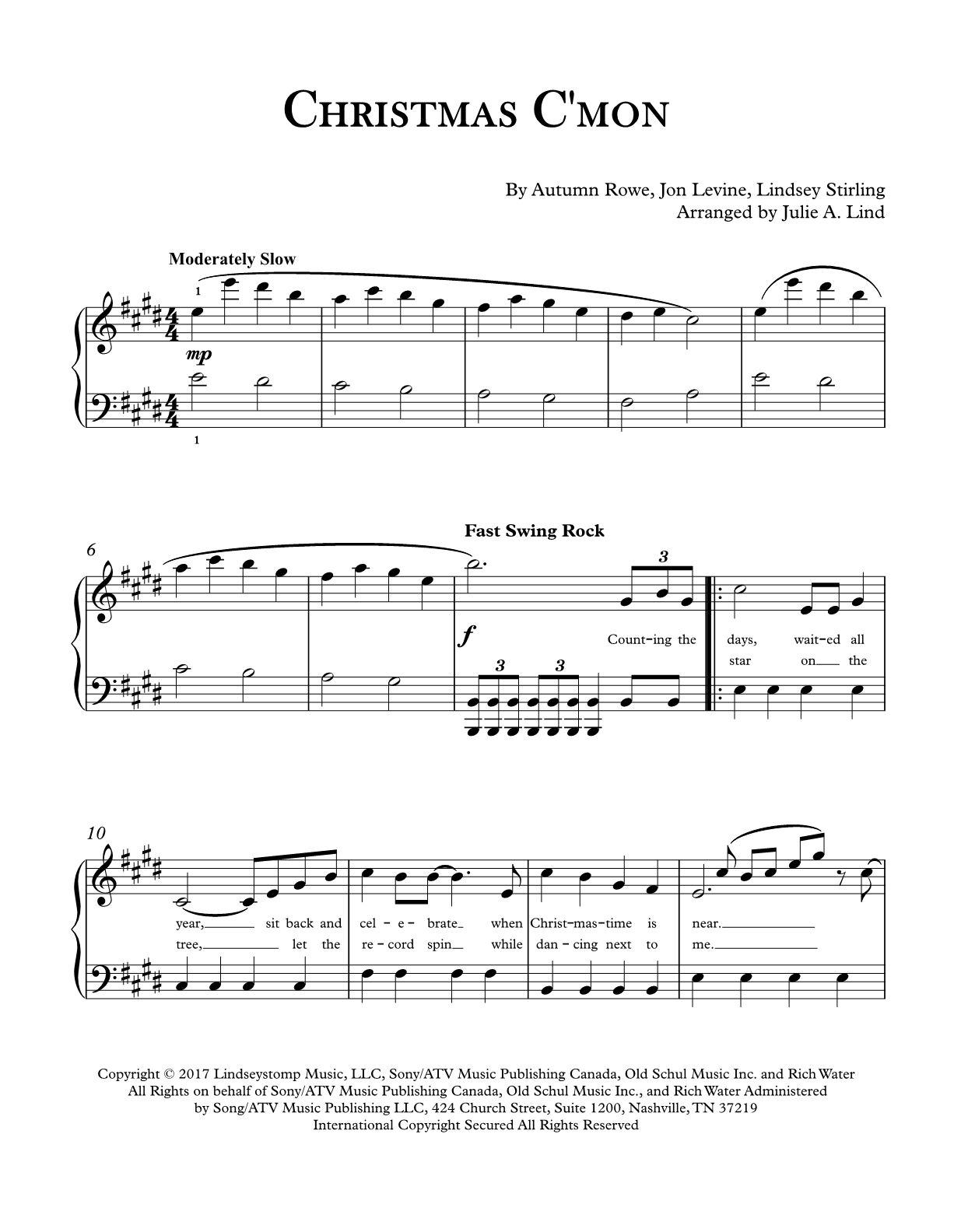Christmas C Mon By Lindsey Stirling Piano Sheet Music Available