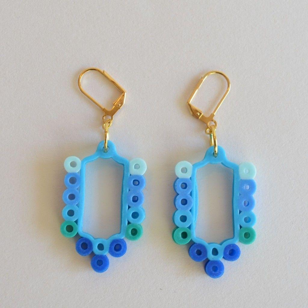 Birdcage perler bead earrings typical house cat diy