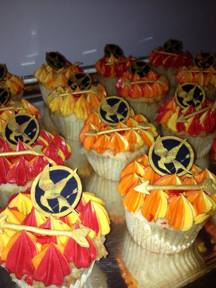 cupcakes provided by Elegantly Iced for the Hunger Game Themed event hosted at Top of the Garden Event Space. visit us at www.topofthegarden.com