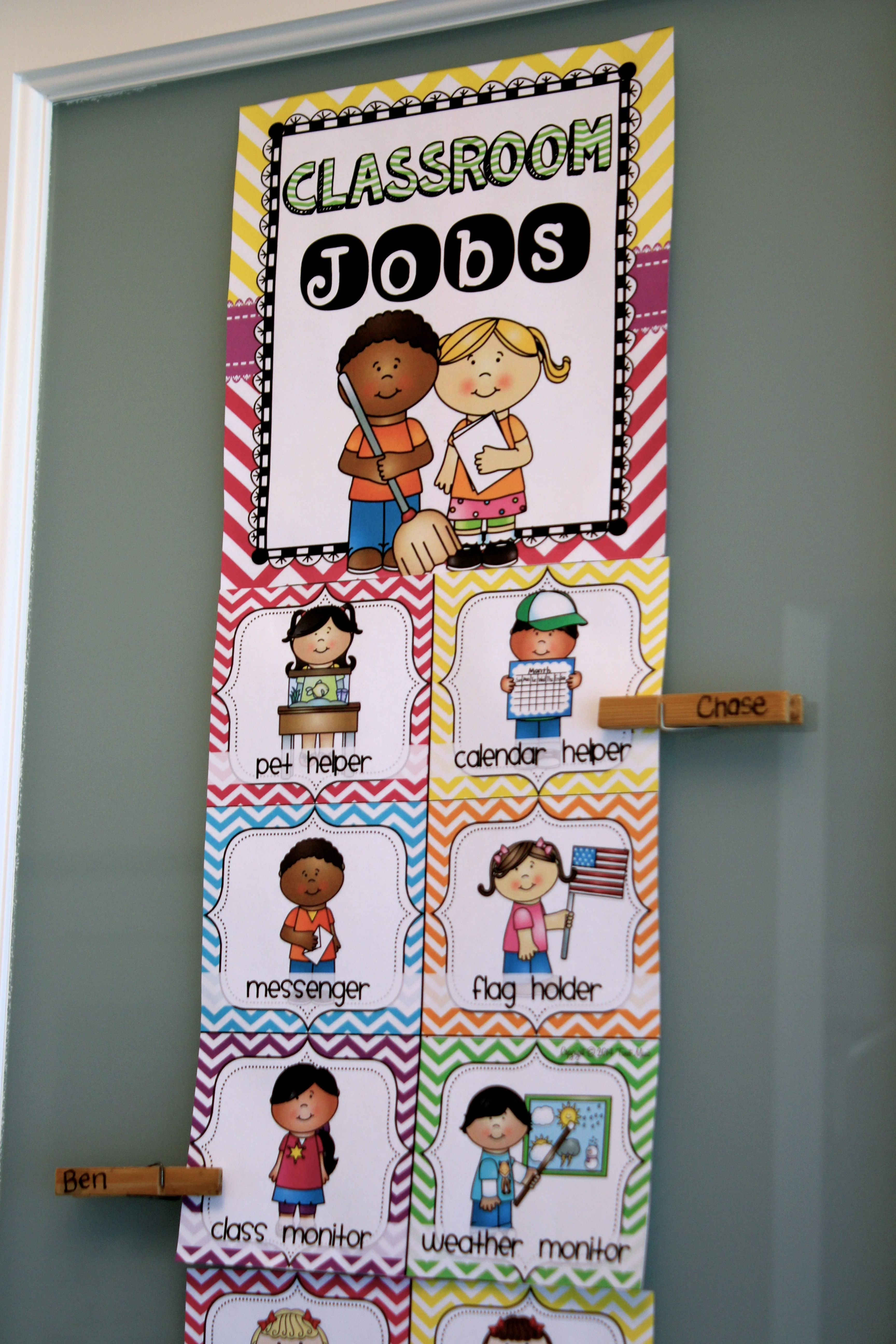 Classroom Decor Charts ~ Classroom jobs clip chart in a chevron decor