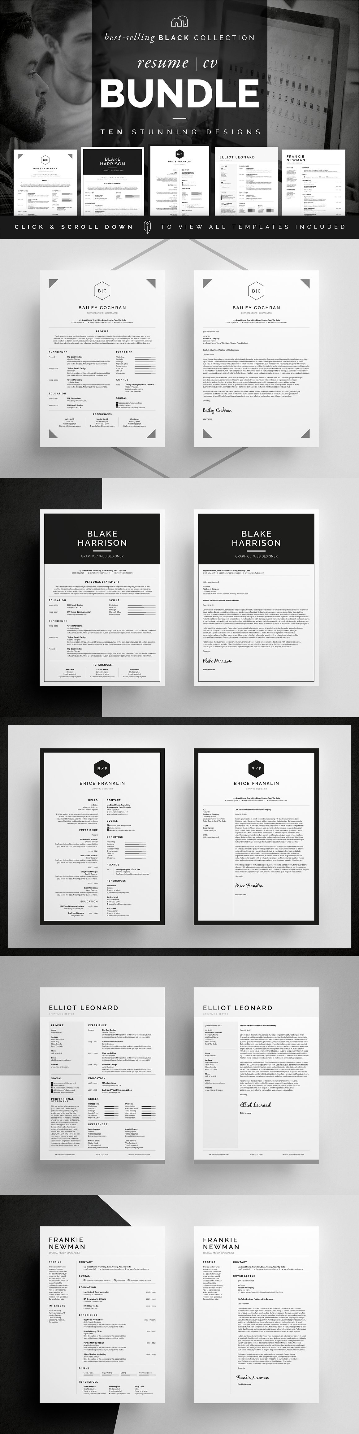 resume cv bundle black collection words create a resume and professional resume cv cover letter business card templates bundle create