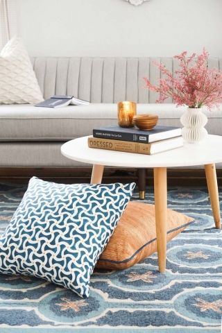 Pair bright and fun colors and patterns together, like the Leap Blue Rug and Toggle Aqua and Custom Birches Pillows, for a vibrant and unique design!  #interiordesign #interior #design #interiorinspo #designinspo #inspiration #interiordesigner #liluinteriors #lilumpls #sylvieandmira #fabric #pattern #color #throwpillows #accentpillows #pillows #pillowinspo #pillowdesign #blue