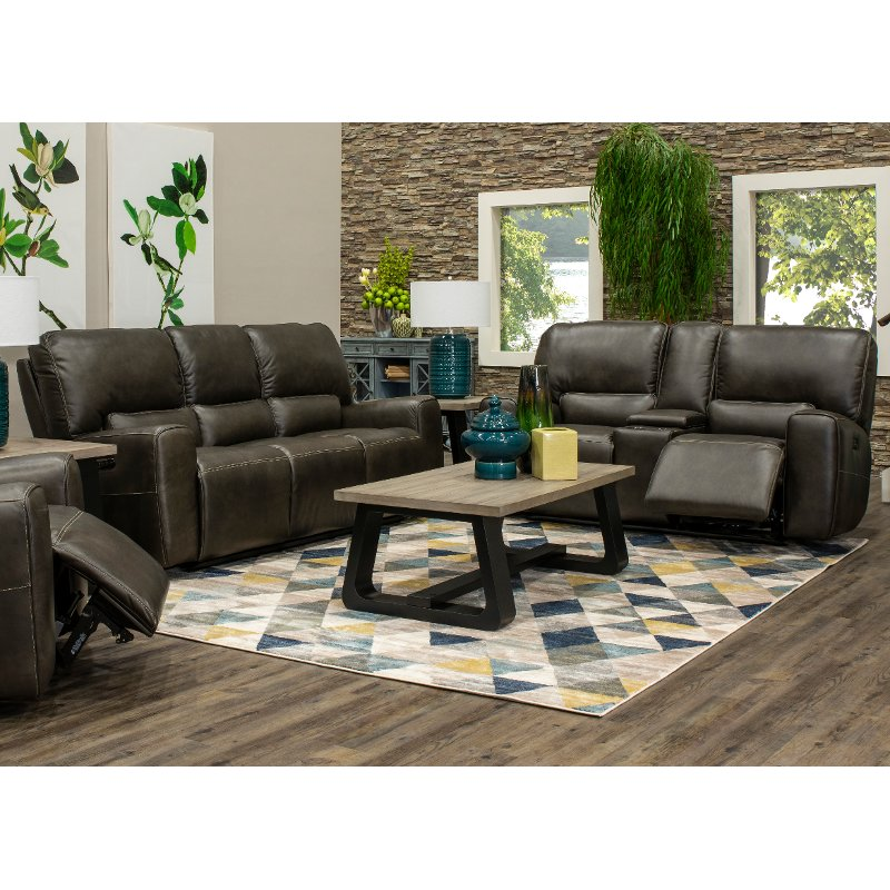 Charcoal Gray Power Reclining Living Room Set With Console Living Room Sets Power Recliners Room Set #rc #willey #living #room #set