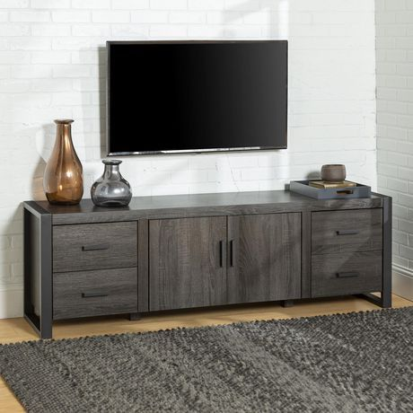 Manor Park Urban Industrial Tv Stand And Media Storage For Tvs Up To 70 Charcoal Charcoal Metal Tv Stand Industrial Tv Stand Tv Stand Wood