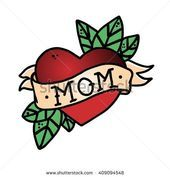 Photo of Tattoo Heart with Ribbon and the Word Mother. Old School Retro Vector Illustra …
