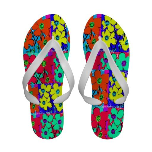 Pop Art Flowers Flip Flops  by Taurusgal