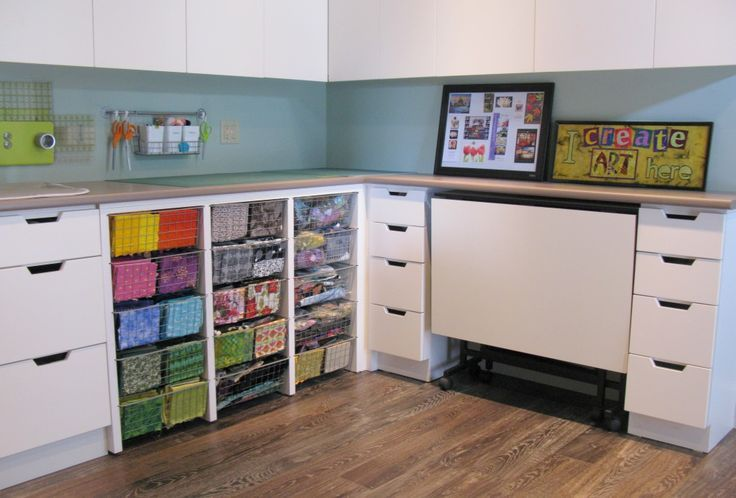 Quilting Studio Storage | Quilt Studio With Ikea Baskets And Rolling Carts  From Www .