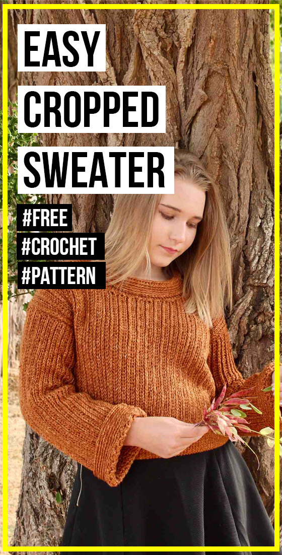 Photo of crochet EASY KNIT-LOOK CROPPED SWEATER free pattern
