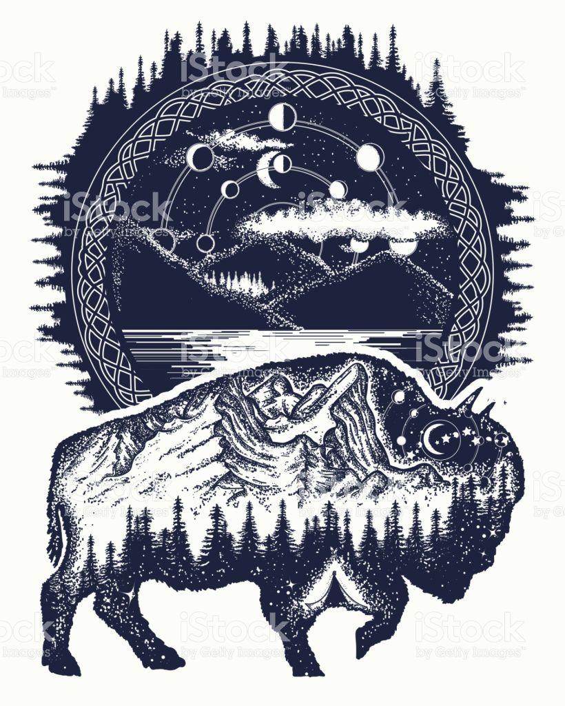 Bison And Mountains Tattoo Art Buffalo Bull Travel Symbol Adventure Animal Tattoos Travel Symbols Mountain Tattoo