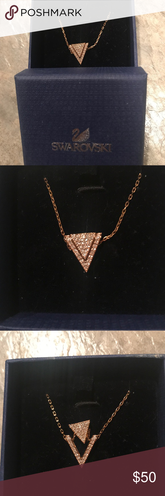 Swarovski necklace beautiful rosegold colored necklace set with