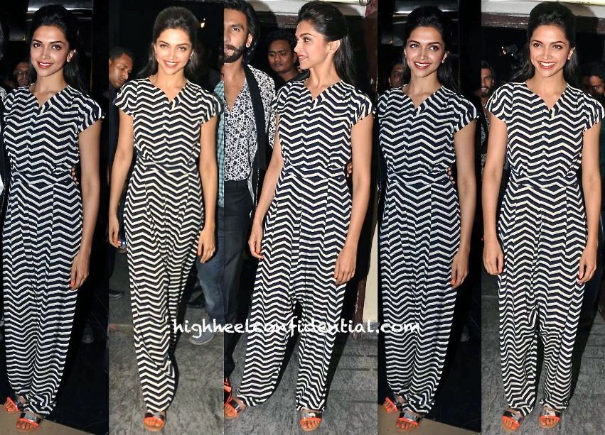 Wearing A Graphic Print Tahir Sultan Jumpsuit Deepika Accompanied Ranveer To The Screening Of Their Movie Hair Deepika Padukone Style Fashion Indian Fashion