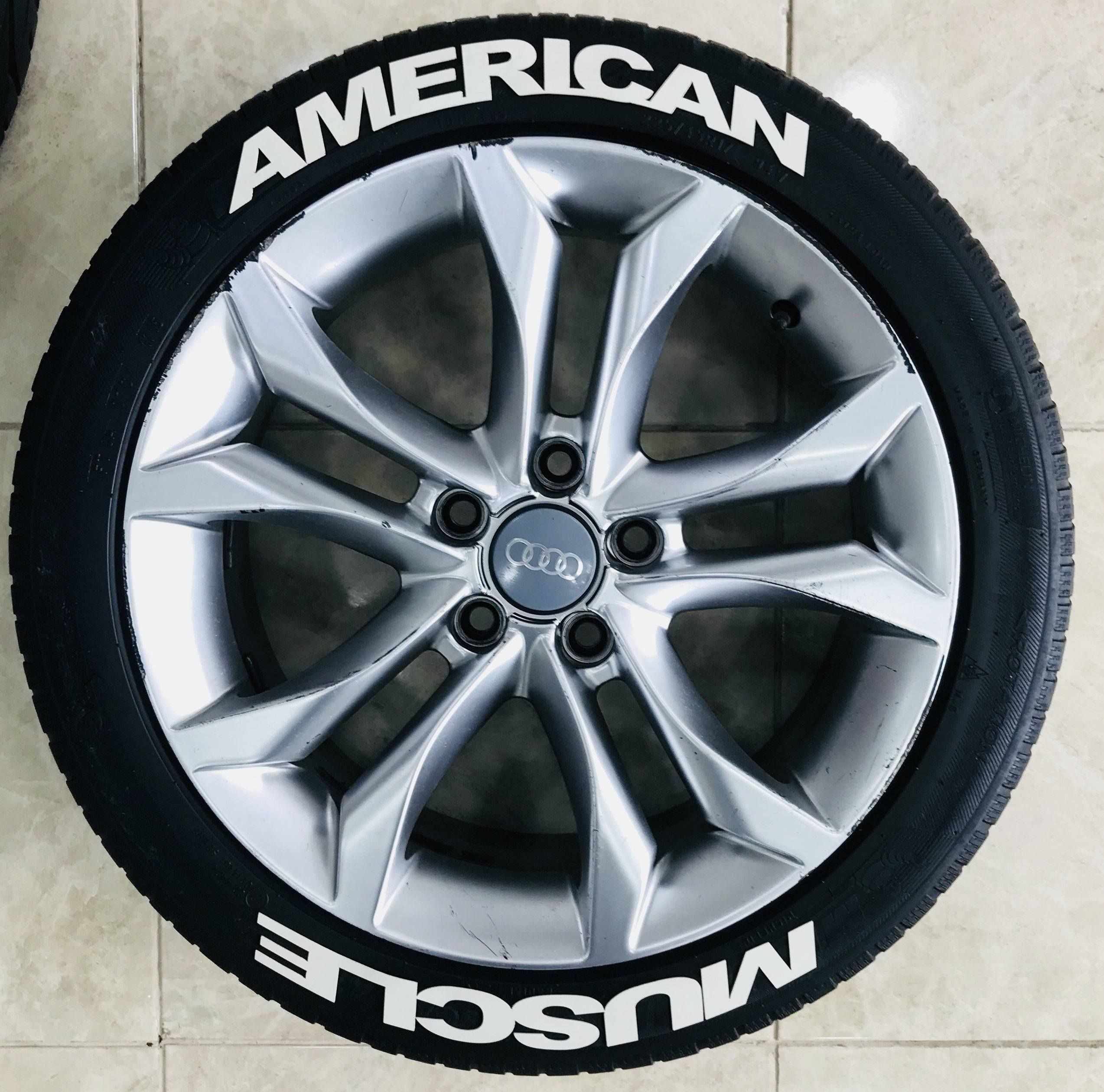 120 american muscle permanent rubber tire letter 16pcs 3d tire sticker kit