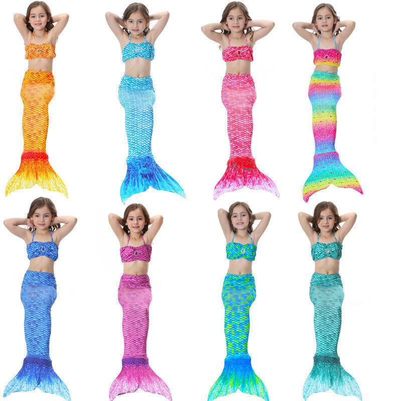 Kids Swimmable Mermaid Tail Sea-maid Bikini Swimwear Swimming Costume Monofin