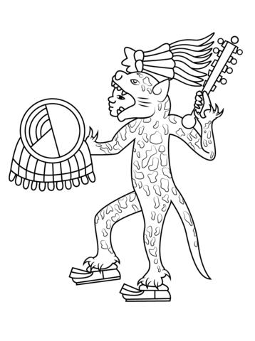 Guerrero Jaguar Azteca Dibujo para colorear | museo nacional de ...
