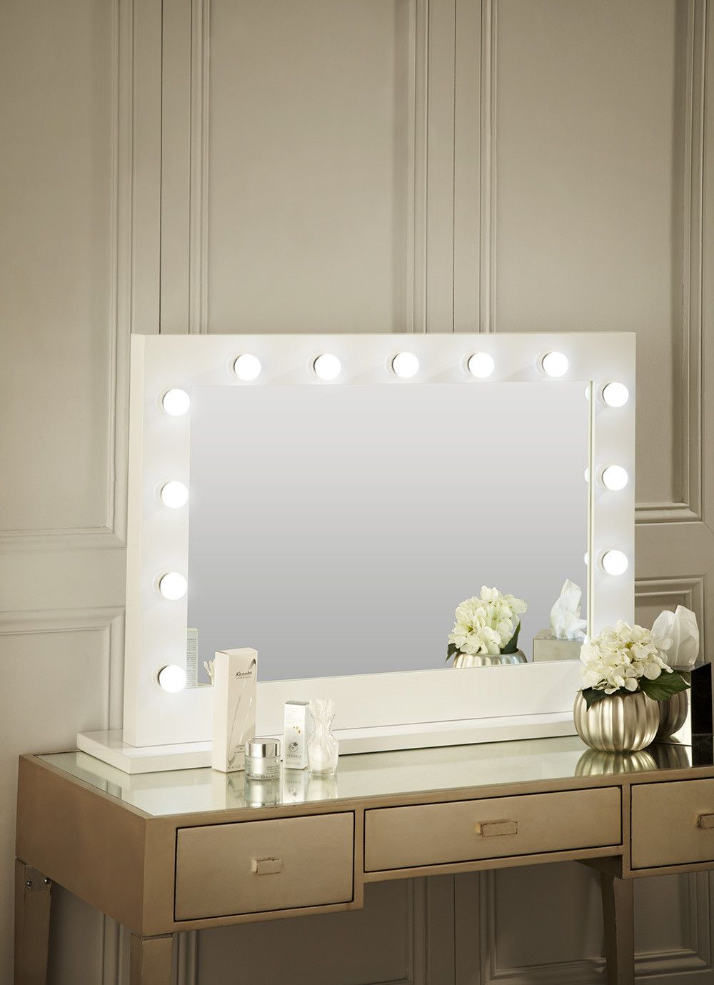 Audrey Hollywood Mirror In White Gloss 100 X 80cm Lights Around