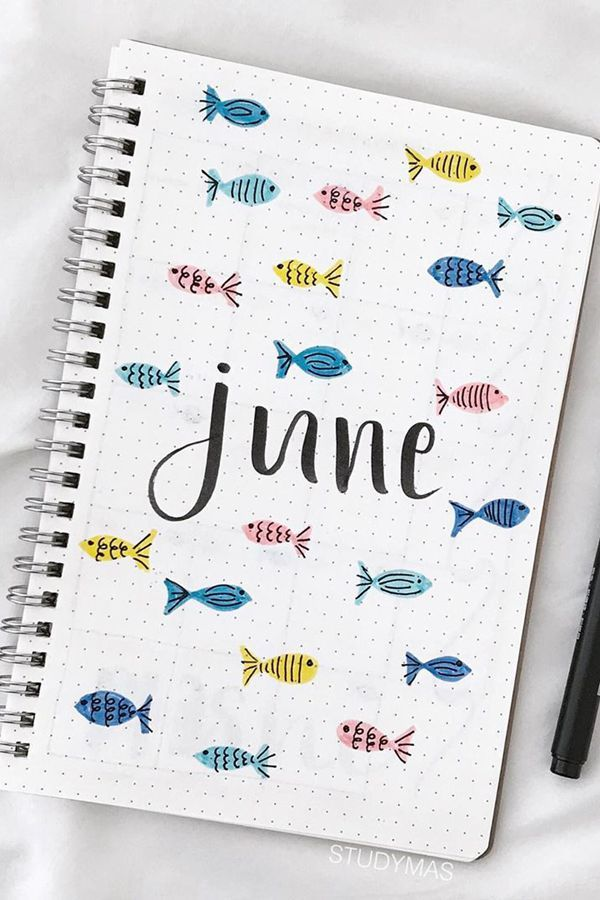 Fun Bullet Journal Cover Page Layout Ideas June 2020 - One Fish, Two Fish