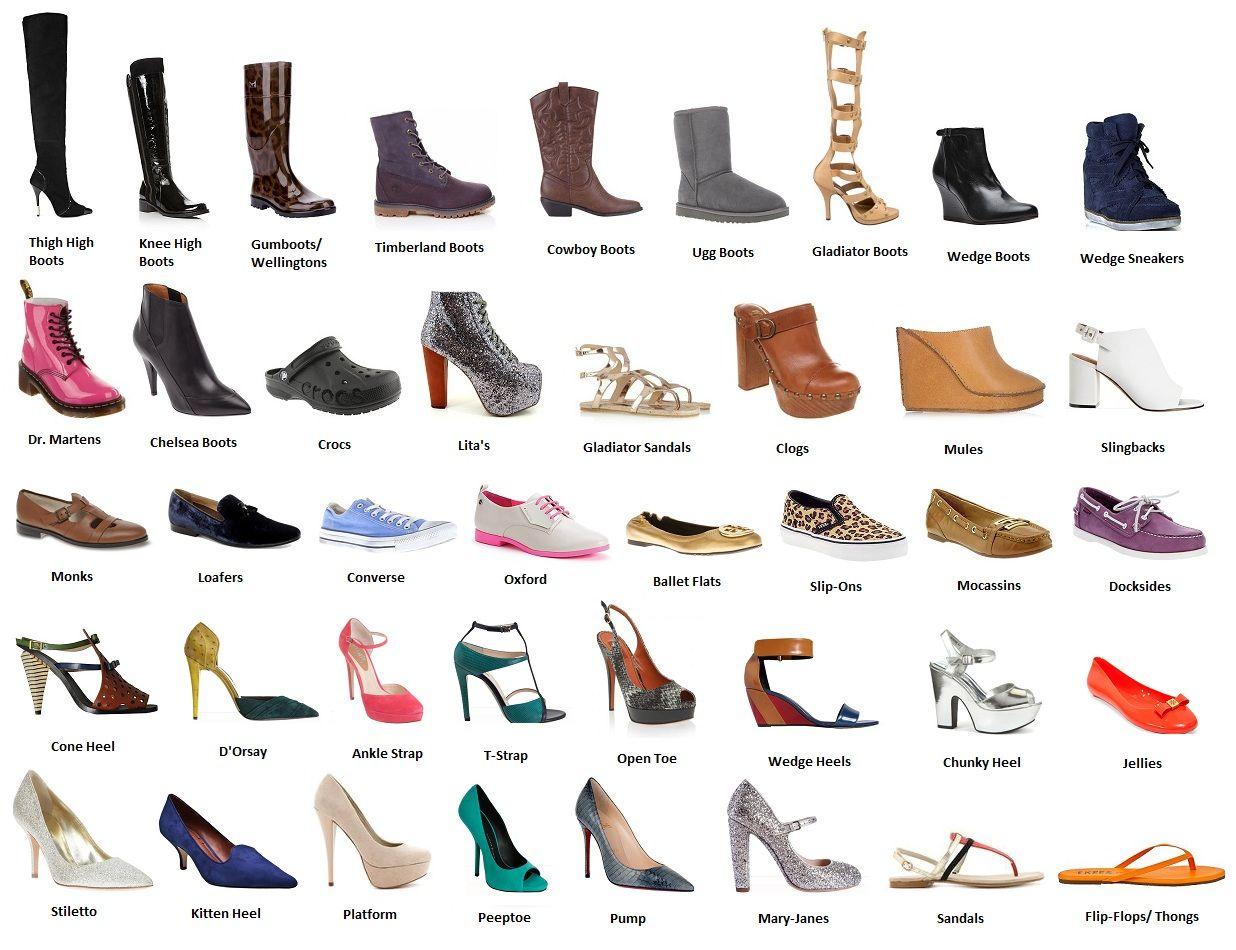 tipos y nombres de zapatos shoes pinterest nombres