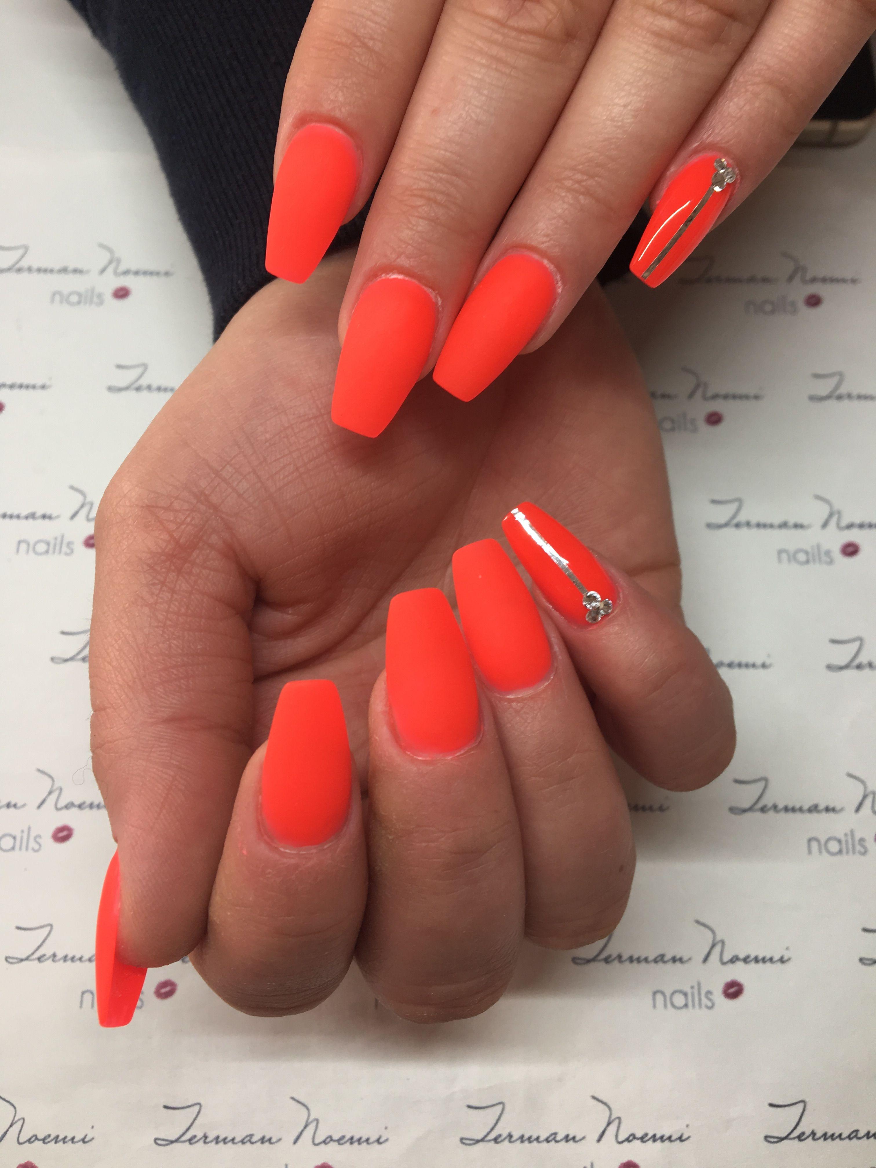 Neon nails, neon red, matte nails, swarovski, love nails ...