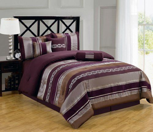7Pcs Queen Purple and Silver Chenille Stripes Comforter Set KingLinen,http://www.amazon.com/dp/B00I4P4ZZY/ref=cm_sw_r_pi_dp_ZRGGtb0CXZY5ZPKY