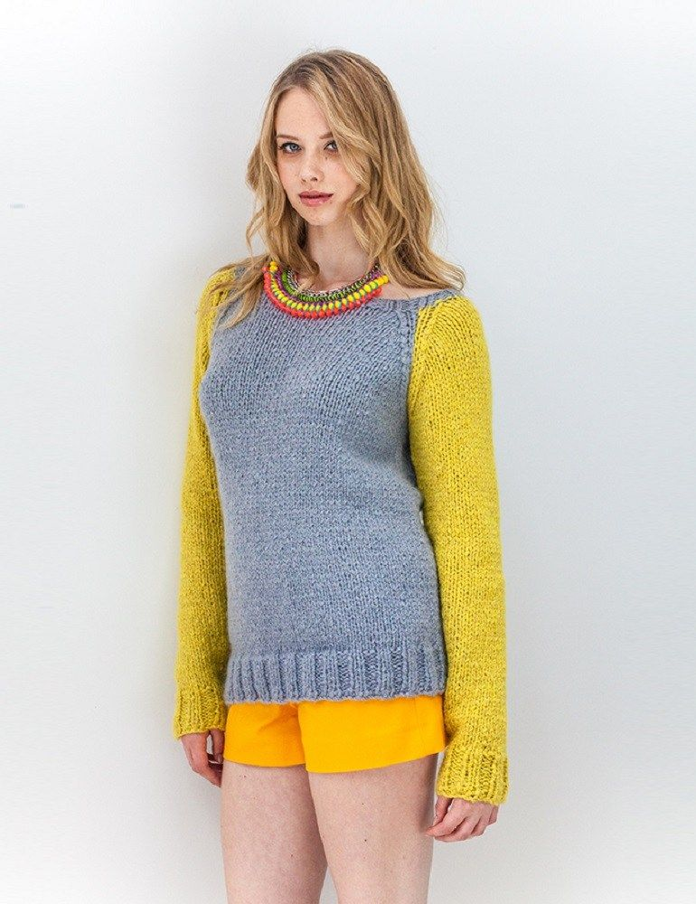a32a78e52 Contrast sleeve raglan sweater free knitting pattern. Lovely stockinette  stitch sweater with sleeves in a contrasting color