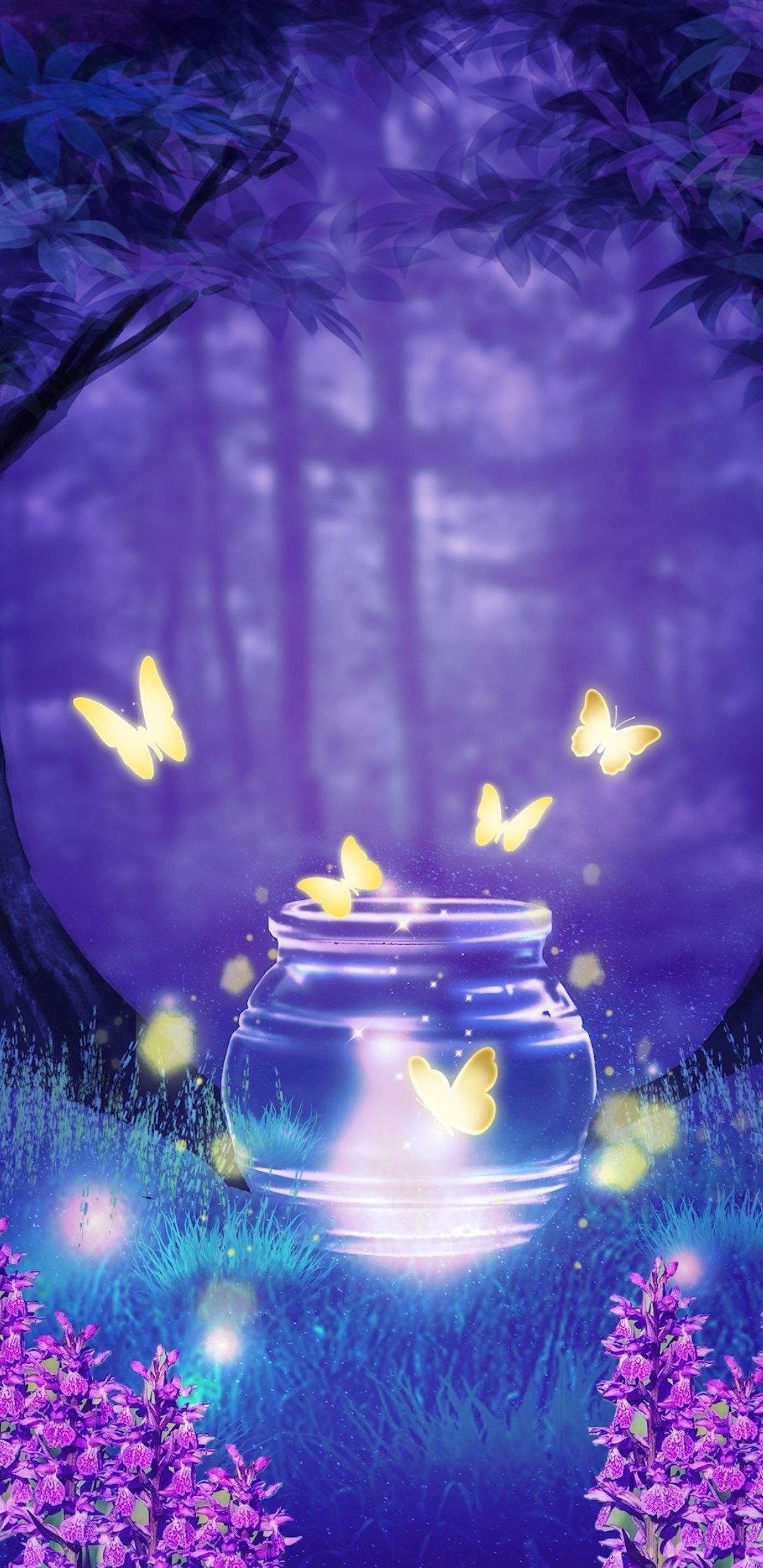 Glowing Butterfly Night Magical Beautiful Nature Wallpaper Beautiful Wallpapers Pretty Wallpapers